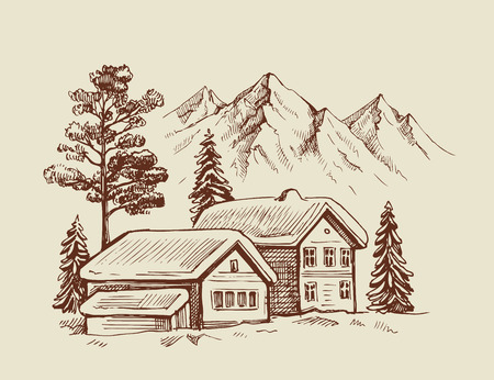wood cabin in winter landscape vector illustration
