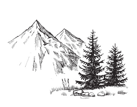 Hand drawn vector illustration of mountain landscape Imagens - 67218938