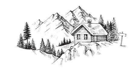wood cabin in winter landscape vector illustration