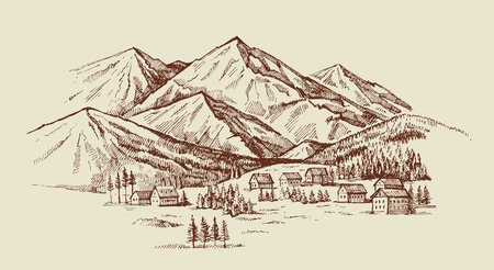 wood cabins in mountain landscape vector illustration Фото со стока - 67219163