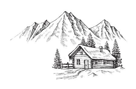 cabane en bois dans le paysage vecteur hiver illustration
