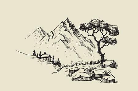 disegnata a mano illustrazione vettoriale di paesaggio di montagna