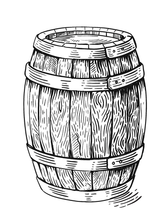 barrel: Vector hand drawing wood barrel in white background