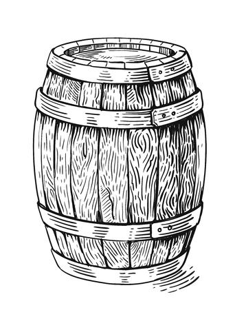 Wektor ręcznie rysunek drewna baryłkę w białym tle Ilustracje wektorowe