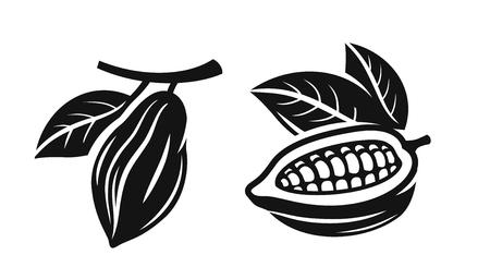 Vektor schwarze Kakaobohnen auf weißem Hintergrund