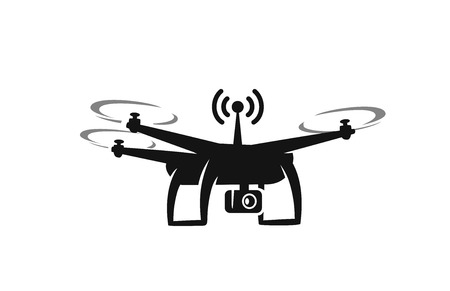 controlling: black drone Icon with action camera on white background