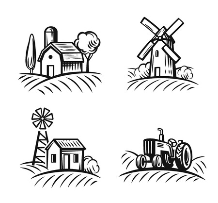vector black farm and field on white background  イラスト・ベクター素材