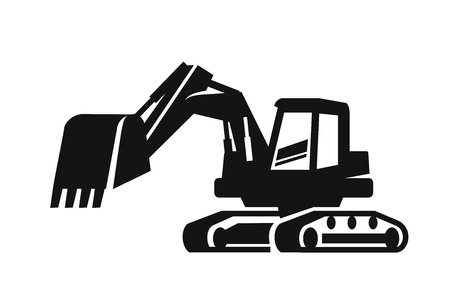 Vettore nero Escavatore icona su sfondo bianco