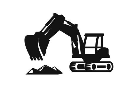 mounds: vector black Excavator icon on white background