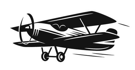 Vector black retro biplane on white background