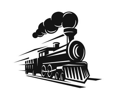 vector retro train logo on white background