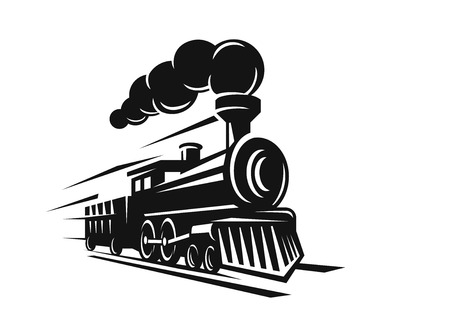 fast train: vector retro train logo on white background