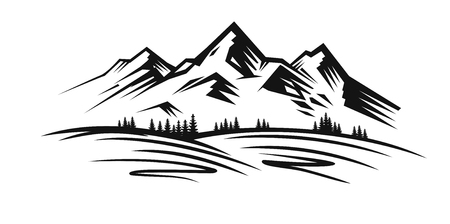 Mountain and landscape vector black on white background Çizim