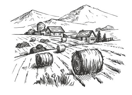 dibujos lineales: dibujados a mano vector de casas de pueblo boceto y la naturaleza