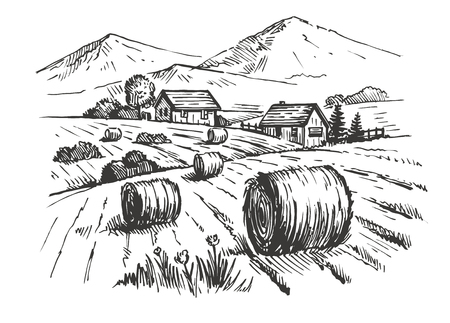 organic farm: vector hand drawn village houses sketch and nature Illustration