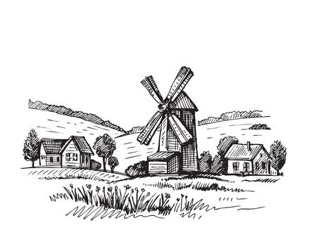 Illustration dessinée à la main d'un moulin à doigt Vecteurs