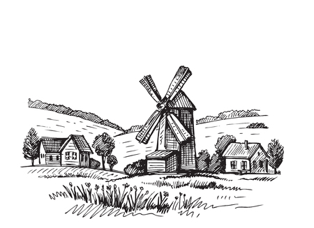 Hand drawn doodle illustration of a mill