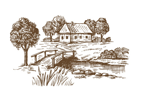 Vector handgetekende dorpshuizen schets en natuur