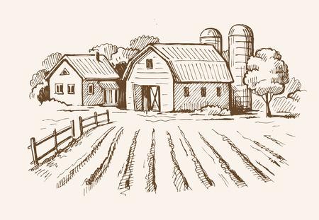 vector de imagen de pueblo y paisaje de la granja