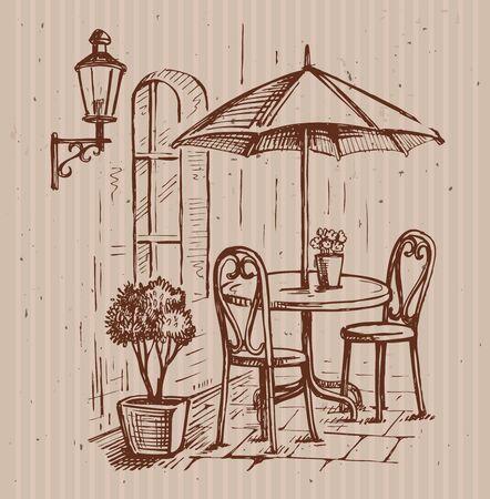 Straßencafe in der alten Stadt Vektor-Illustration