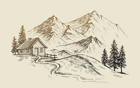 montagna: disegnata a mano illustrazione vettoriale di paesaggio di montagna