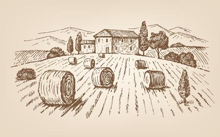cottage garden: hand drawn village Illustration