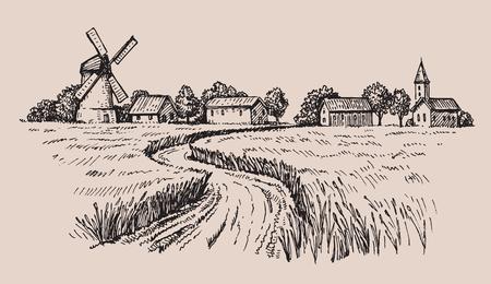 Hand getekend land Vector Illustratie