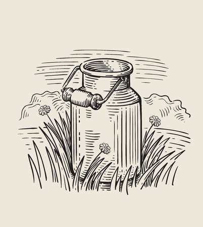 Milk cans with grass Vectores