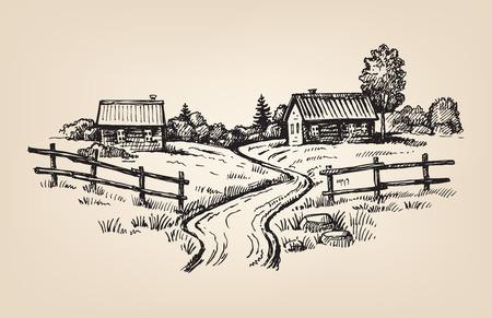 hand drawn village Stock Illustratie