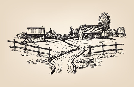 hand drawn village Illustration