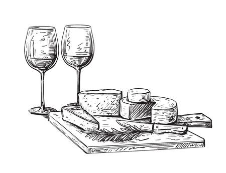 手描きの背景チーズ