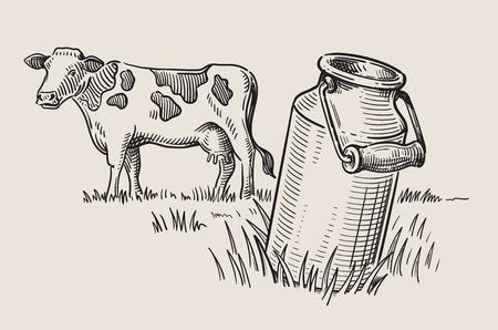 Milk cans with grass Stock Photo