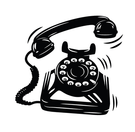 old phone: telephone icon vector