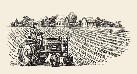 vector retro tractor Illustration