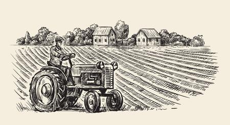 vector retro tractor Illustration