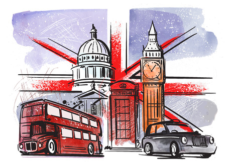 great britain and london Illustration