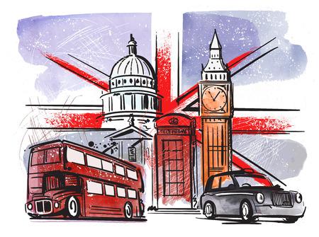 great britain and london Stock Illustratie
