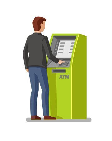 cash money: man using cash Illustration