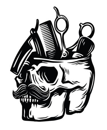 danger: emblem barber skull Illustration