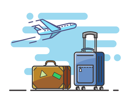 airplane travel: airplane and suitcase travel Illustration