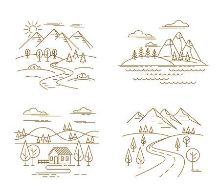 simple: Flat linear landscape Illustration