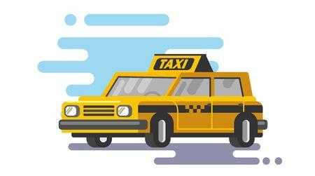 Yellow taxi car vector Illustration