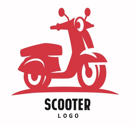 delivery service: A red scooter motorcycle Illustration