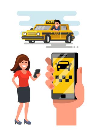 A Vector taxi car illustration.