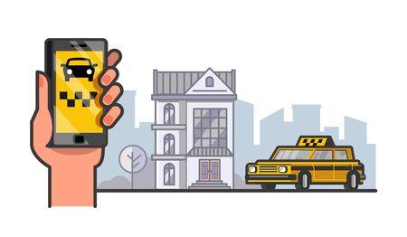 Simple Vector taxi car illustration. Illustration