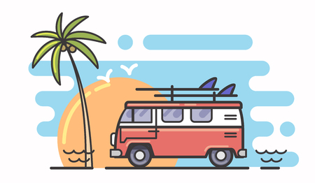 Cool illustration of surf and bus