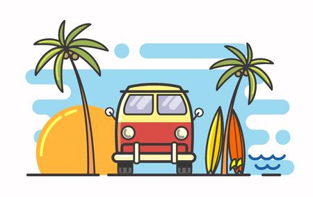 Leuke illustratie van surf en bus