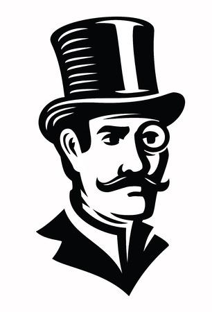 people icon: Vintage gentleman emblem