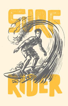 pacific ocean: vector surf man. Illustration