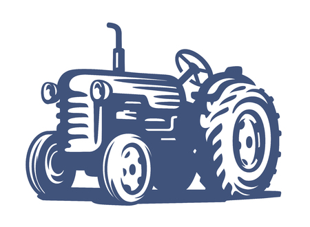Vector blauwe tractor